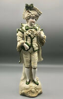 """Antique German Bisque Figurine—Porcelain Fancy Young Man 11.5"""" *See Note*"""
