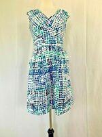 Calvin Klein Dress Size 10 Medium White Blue Polka Dot Women's