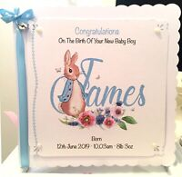 Personalised Peter Rabbit New Baby - Son, Grandson Nephew Boys Godson, Cousin
