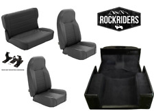 1976-1995 Jeep Wrangler CJ7 Front and Rear Seat with Carpet Kit Combo Black