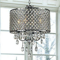 Silver Drum Pendant Light Shade Crystal Ceiling Lamp Chandelier Fixture Lighting