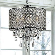 Modern Crystal Ceiling Light Drum Shade Pendant Lamp Chandelier Lighting Fixture
