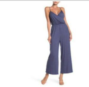 Wrap Front one piece Jumpsuit Pants Navy Indigo  Adjustable Strap Size L Abound