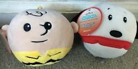Peanuts Fluffballs Fluff ball Charlie Brown & Snoopy 2 Lot Plush Ornaments New