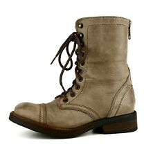 Steve Madden Munch Military Leather Boot Brown Women Sz 8 M 5672 *