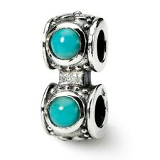 Turquoise CZ Connector Bead .925 Sterling Silver Antique Finish Reflection Beads