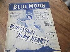 VINTAGE ORIGINALE SPARTITO 1934 Blue Moon RITA HAYWARD canzone nel mio cuore