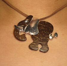 Necklace Gianni Liverani coconut shell & silver plated Zama alloy Elephant New!