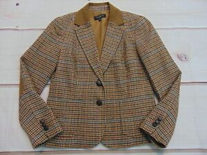 Talbots Women's Size 8P Wool Blend Plaid Lined Blazer 2 btn Elbow Patch Brown