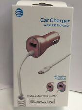 AT&T 3.4A MFI Lightning Charger w' LED Fos All iPhones & Tablets - Rose Gold NEW