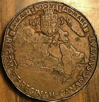 1939 ROYAL TRAIN VISIT TO CANADA COMMEMORATIVE COPPER MEDAL SHOWS THE MAP AND AC