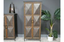 Tall Industrial Metal and Wood Storage Cabinet 2 Doors 3 Compartments