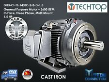 1.5 HP Electric Motor, GEN PURP, 3600 RPM, 3-Phase, 143TC, Cast Iron, NEMA Prem