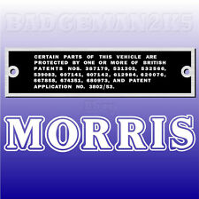 MORRIS MINOR REPRODUCTION PATENT PLATE for 1950's onward