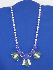 Fossil Brand Two Tone Blue Green Cabachon Rhinestone Statement Necklace JA6274