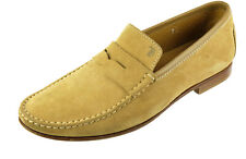 Worn 1x  TOD's Beige Suede leather Driver Moccasin Penny Loafers 8 ITALY