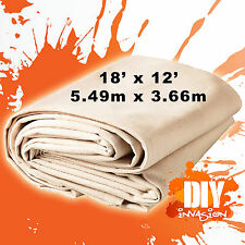 Uni-Pro Heavy Duty Canvas Drop Sheet Drop Cloth 18' x 12' Paint Dust Protection