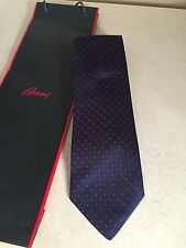 MENS Brioni Navy Blue Silk Red Dotted Tie Excellent! Gift Bag!
