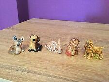 Wade English Whimsies Set One, 1971-1984, Blue Box Fawn, Kitten, Rabbit, Mongrel