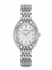 New Bulova 96R212 Stainless Steel 24 Diamond Dial & Bezel Ladies Watch