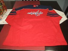 MENS WASHINGTON CAPITALS Reebok FACE OFF NHL Red Jersey Long Sleeve T-Shirt L