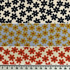 Flower Print 100% Cotton Fabric MATERIAL Retro MODERN Quilting Craft MASK Floral