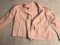 SOPHIE RUE Womens Size Medium Pink Open Front Long Sleeve Blazer Work Jacket