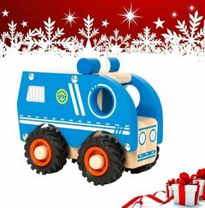 Camion de police jouet en bois pour enfant à partir de 18 mois ID KDO NOEL