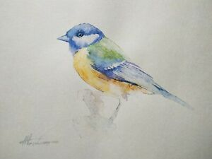 Great Tit, Birds, Watercolor artwork, Handmade, Original painting on paper