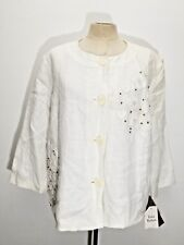 JM Collection Womens Jacket 16P 100% Linen Lined White Floral Embroidered Beaded
