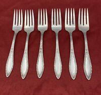"""WM A Rogers Set Of 6 Silverplate MYSTIC CORONET Salad Forks 6"""" 1926"""