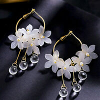 Women Crystal Tassel Dangle Acrylic Flower Drop Earrings Party Fashion Jewelry