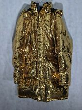 Moschino HM Gold Sequin Puffer Bomber Parka Jacket Large