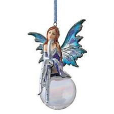 Set of 3: Fantasy Snow Fairies Glass Globe Ribboned Christmas Tree Ornaments