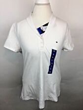 Tommy Hilfiger White Short Sleeve V-Neck Flat Collared Pull Over Shirt Women's L