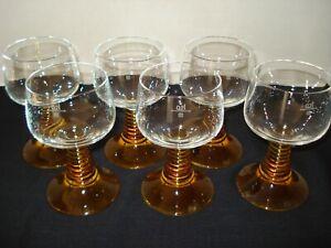 Set of 6 German Rhein Roemer Amber Beehive Stem 0.2L Wine Glasses Water Goblets