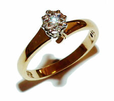 Fully Hallmarked 9ct Yellow Gold & Illusion Set Diamond Solitaire Ring - UK: N