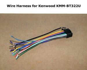 "NEW WIRE HARNESS FOR KENWOOD KMMBT322U KMM-BT322U Extra Long Ground - 12"""