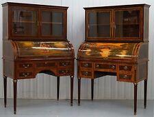 1 Of 2 French Louis Xvi Neoclassical Secretaire Bookcase Desks Vernis Martin