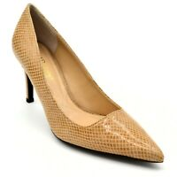 J Renee Womens Alipha Leather Embossed Snake Skin Pumps US Size 9.5M Tan New