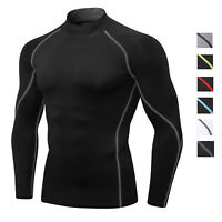Mens Compression Shirt Wicking Training Base Layer Gym Long Sleeve Top Mock Neck