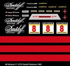 #8 Davidoff Watches Mc Laren F1 1995 1/64th HO Scale Slot Car Decals Custom labe