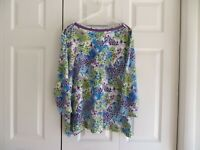 Westbound Womens Blue Purple White Three Quarter Sleeve Top Size 2X