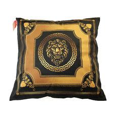 Exklusives Dekokissen 60x60 Klassisch Schwarz-Gold Löwe Mäander Medusa versac