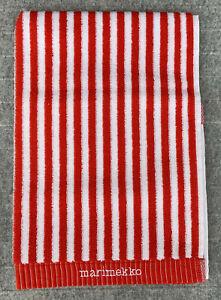 Marimekko Hand Towel 50x100 cm (19.68 x 39 Inch). Red and White stripes. NEW