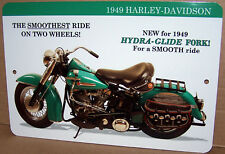 "1949 Harley-Davidson Hydra-Glide Panhead Ad Slick on a 12"" x 8"" Aluminum Sign"