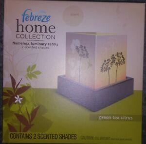 (1) Febreze Home Collection Green Tea Citrus Luminary Refill 2 Scented Shades