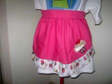 LAST MIN XMAS SPECIAL 1/2 HOT PINK APRON with C/C TRIM & B/C EMBROIDERY S6-14
