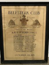 Vintage 1925 BEEFSTEAK CLUB Illus Bull Yearlings Member List LOUISVILLE Kentucky