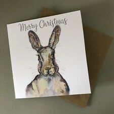 Illustrated Hare Christmas Glitter Festive Greetings Card Recycled Uk